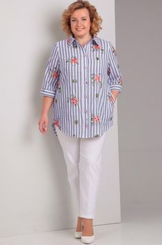 Over 50 Womens Fashion, Fashion Over 50, Moda Plus Size, Mod Dress, Office Fashion, Blouses For Women, Plus Size Outfits, Embroidered Tunic, Shirt Designs