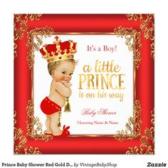 Prince Baby Shower Red Gold Damask Blonde Boy Invitation