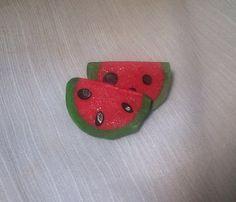 Watermelon Slice Post Earrings, Handmade of Polymer Clay on Etsy, $12.00