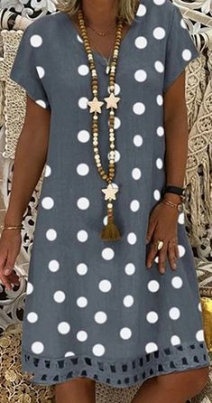 Women V-Neck Short Sleeve Hollow Polka Dot Summer Dress - Hot Sale!Women V-Neck Short Sleeve Hollow Polka Dot Summer Dress Source by - Sewing Summer Dresses, Polka Dot Summer Dresses, Casual Summer Dresses, Dress Summer, Dress Casual, Casual Ootd, Summer Outfits, Summer Fashions, Classy Casual