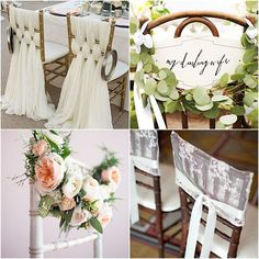 27 Gorgeous Wedding Ideas for Chairs - The details always matter! This is precisely why we are taking a little time to highlight creative wedding ideas for reception and ceremony chairs. Whether you're adding a clever sign, soft drapes, or escort cards; there really is no wrong way to use the space available on your chairs. Check out these lovely ideas below to see what you can do to jazz up your own wedding chairs!
