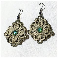 Khaki and Light Green Tatted Earrings  - Multilayered Tatted Lace