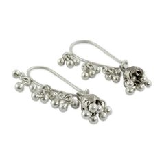 NOVICA .925 Sterling Silver Jhumki Style Jingle Bell Dangle Earrings, 'Music' -- Check out this great product. (This is an affiliate link) #JewelryLover