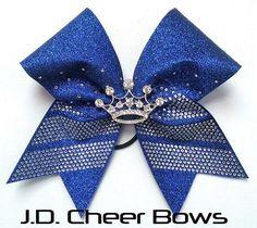 Rhinestone Tiara Princess Bow Choose Colors Cheer Bows 3D
