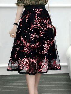 Fashionmia - Fashionmia Elastic Waist Floral Hollow Out Flared Midi Skirt - AdoreWe.com