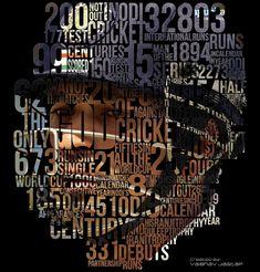 Typography Portrait of Sachin Tendulkar by Vaibhav Jagtap at Coroflot History Of Cricket, Cricket Poster, Typography Portrait, Ms Dhoni Wallpapers, Engineers Day, Cricket Quotes, Cricket Wallpapers, Messi Soccer, 8k Wallpaper