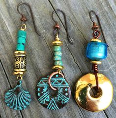 Jewelry Earrings Turquoise and Gold Sea-Inspired Earrings Clay Jewelry, Boho Jewelry, Jewelry Crafts, Beaded Jewelry, Jewelry Accessories, Handmade Jewelry, Fashion Jewelry, Gold Jewellery, Artisan Jewelry