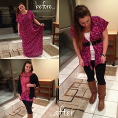 DIY refashion dress to cardigan & shorts-not into the shorts for cold weather but otherwise good idea