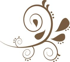 Brown Paisely Swirl clip art; would be a cool henna pattern