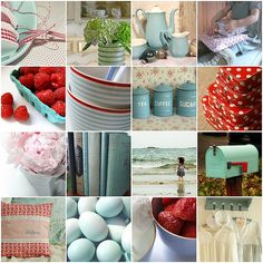 love this color scheme -- duck egg blue with red accents. (I think Melissa Lewis and I were separated at birth!) I'm thinking of using these colors in my office. It's either this, or some bright/fresh colors - yellow, teal, bright pink etc . Duck Egg Blue Kitchen, Aqua Kitchen, Kitchen Colors, Vintage Kitchen, Kitchen Decor, Kitchen Ideas, Camper Kitchen, Turquoise Kitchen, Cherry Kitchen