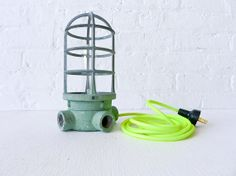 cage lamp with neon cord by earthseawarrior