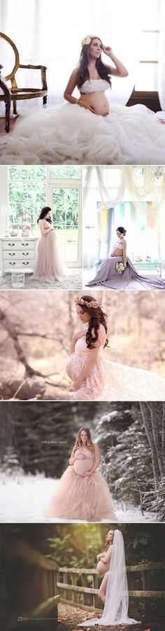 28 Modern and Captivating Themed Maternity Photo Ideas - Romantic Bridal-inspired
