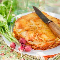 Tarte tatin au brie, pommes de terre et lardons