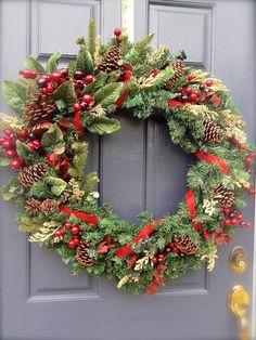 Winter Wreath Winter Evergreen Wreath by WreathsByRebeccaB