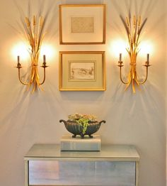 Wheat Sheaf Sconces and MCM Mirrored Chest
