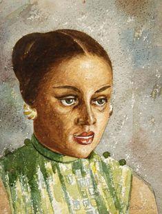 Aaron Douglas Portrait of a Lady, 1950. Watercolor on paper