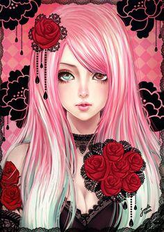 Little Princess by Janjanita.deviantart.com Black Lace / Red Roses / Pink Hair Lolita