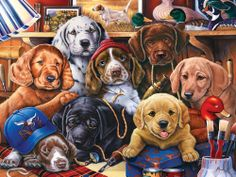 Masterpieces Jenny Newland Grandpa's Pups Jigsaw Puzzle - 750 pc