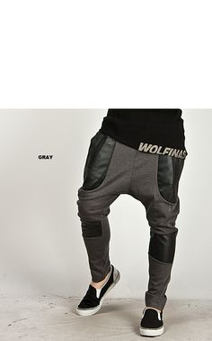 ★SOLD-OUT★ Stylish Leather Patch Accent Baggy Sweatpants - 47 - NSIE NewStylish