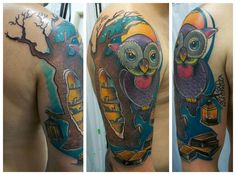 tattoo owl book oak