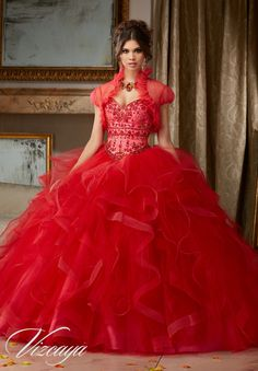Morilee Vizcaya Quinceanera Dress 89118 JEWELED BEADING ON FLOUNCED TULLE BALL GOWN  Matching Bolero Jacket. Available in Navy/Royal, Scarlet/Pink Panther (Color of this dress): Scarlet/Pink panther