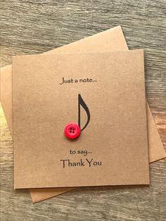 Music Note Button Art Thank You Card, Rustic Thank You Card, Birthday thank You, Christmas Thank You Musik Hinweis Knopf Art Dankeschön-Karte rustikale Teacher Cards, Teacher Thank You, Thank You Gifts, Teacher Gifts, Thank You Sayings, Handmade Thank You Cards, Thank You Messages, Thank U, Birthday Thank You