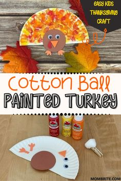 Cotton Ball Painted Turkey Easy Kids Thanksgiving Craft