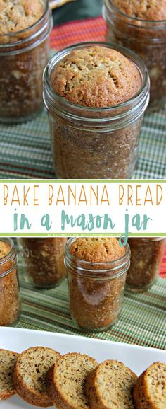 This traditional banana bread features an ingenious twist: It is baked in a canning jar! Such a fun and unique presentation makes it perfect for gifts. food gifts Banana Bread in a Jar Mason Jar Desserts, Mason Jar Meals, Meals In A Jar, Mason Jar Diy, Cake In Mason Jar, Gifts In Mason Jars, Mason Jar Food, Mason Jar Recipes, Mason Jar Pumpkin