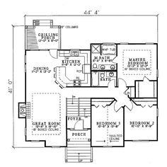 House 773 Blueprint details, floor plans ❤ liked on Polyvore featuring floor plans