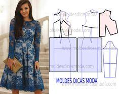 Esta publicação mostra como fazer o molde do vestido em renda transparente azul a partir do molde base. No blogue existem vários tipos de bases de vestuário a mais adequada para este modelo é a base mais justa.