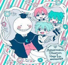Tags: Anime, Tentacles, Vest, Striped Background, Assassination Classroom, Koro-sensei, Shiota Nagisa