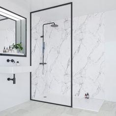 SHOP the Multipanel Linda Barker Calacatta Marble Bathroom Wall Panel at Victorian Plumbing UK Bathroom Paneling, Bathroom Wall Panels, Shower Wall Panels, Fitted Bathroom, Modern Bathroom, Master Bathroom, Japanese Bathroom, Ensuite Bathrooms, White Bathroom