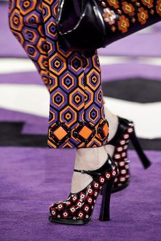 """""""The shoe that best illustrates the allover graphic goofiness of Prada's fall 2012 collection. Pumps, Heels, Jimmy Choo, Christian Louboutin, Shoe Gallery, Miuccia Prada, Prada Shoes, Prada Bag, Gucci"""