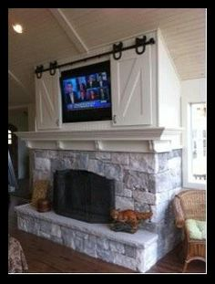 A neat idea for covering a TV with equestrian flair.