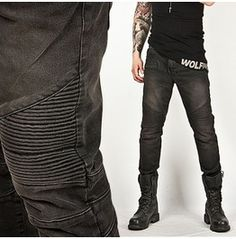 Bottoms :: Washed Tough-Chic Black Designer Skinny Biker Jean - Jean 24 - New and Stylish - Fast Mens Fashion - Mens Clothing - Product Rugged Style, Style Men, Skinny Biker Jeans, Ripped Jeans, Black Harem Pants, New Mens Fashion, Fashion Edgy, Fashion Rings, Fashion Boots