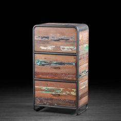 Urban Style Drawer Cabinet Made of Recycled Wood From Old Fishing Boats | Repurposed and Reclaimed Boat Wood Dresser With 3 Deep Drawers
