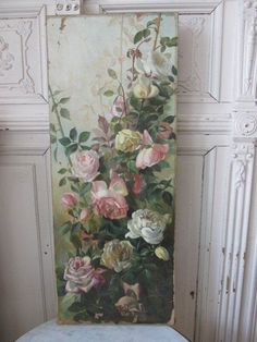 """EXQUISITE Old Antique ROSE OIL PAINTING PINK WHITE ROSES Vertical Canvas 30"""""""