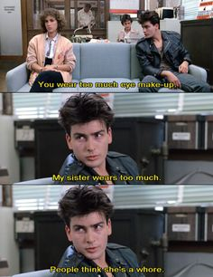 Charlie Sheen in Ferris Bueller's Day Off. Love this movie! Love Charlie Sheen back on the day Teen Movies, Iconic Movies, Classic Movies, Great Movies, Movie Tv, Day Off Quotes, Film Quotes, Jack White, Life Moves Pretty Fast