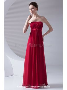 Chiffon Strapless Column Floor Length Sash Prom Dress