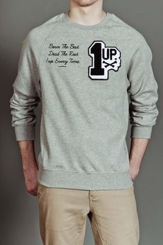 Gold Coin Chenille Patches 1up Crewneck