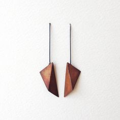 Geometric Copper Earrings, Geometric Silver Earrings, Triangle Dangle Earrings, Statement Earrings, Minimalist Earrings by RawObjekt on Etsy https://www.etsy.com/listing/201013301/geometric-copper-earrings-geometric