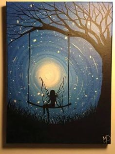 Good night from the fairy Love Painting, Firefly Painting, Painting & Drawing, Fairy Drawings, Fairy Paintings, Paint Party, Tampons, Cool Artwork, Original Paintings