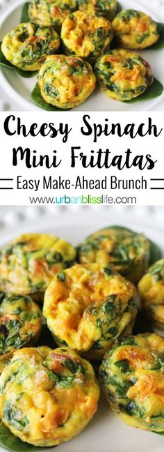 These Cheesy Spinach Mini Frittatas are so easy, delicious, and make for the perfect breakfast or brunch make-ahead recipe!