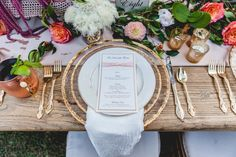 A beautifully set table sets the scene that welcomes guests with eye-catching centerpieces and elegant place settings. Just lovely!