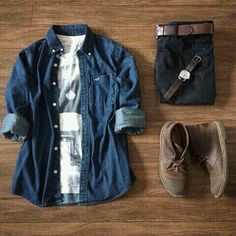 the latest trends in mens fashion and mens clothing styles Komplette Outfits, Casual Outfits, Fashion Outfits, Fashion Trends, Mode Masculine, Stylish Men, Men Casual, Casual Shirt, Look Fashion
