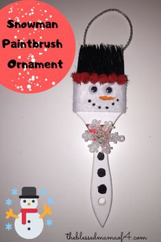 Make a snowman paintbrush ornament. He is super cute and creative. You can also make a Santa, Grinch, Reindeer and an elf. Easy Christmas Decorations, Christmas Ornament Crafts, Snowman Crafts, Christmas Crafts For Kids, Christmas Projects, Christmas Fun, Holiday Crafts, Santa Crafts, Snowman Wreath