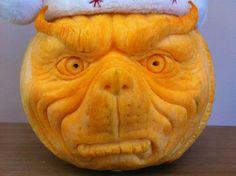 Grinch - citrouille sculptée - pumpkin carving