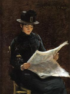 The Morning News, 1886 by William Merritt Chase. Impressionism. genre painting. Private Collection