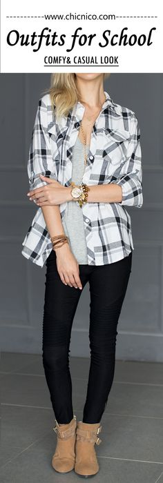 You need to realize how stunning you are! Go check this shirt here from Chicnico. Great quality, fresh design & good service. Pack one for your autumn! $26.66 Chicnico Plaid Chest Pocket Long Sleeve Shirt