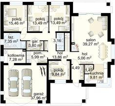 Neptun IV projekt - Parter 156.02 m² + garaż 37.96 m² Modern House Plans, House Floor Plans, House Entrance, Ground Floor, Planer, Home Projects, Sweet Home, House Design, Flooring